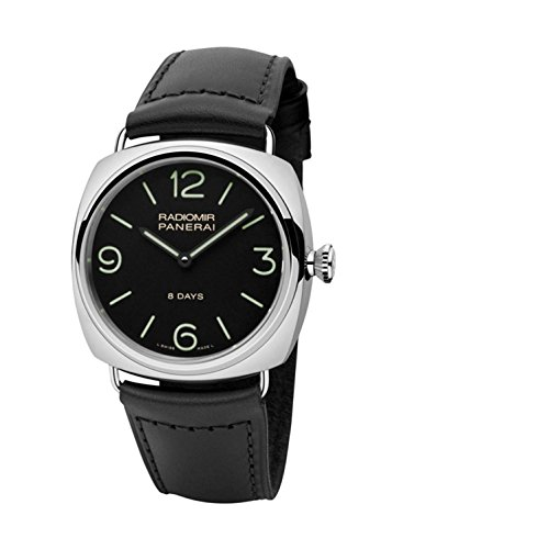 Panerai Radiomir Herren-Armbanduhr 45mm Armband Leder Schwarz Gehäuse Edelstahl Handaufzug PAM00610
