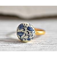 Original 60er Porzellan Vintage Ring - Verstellbar