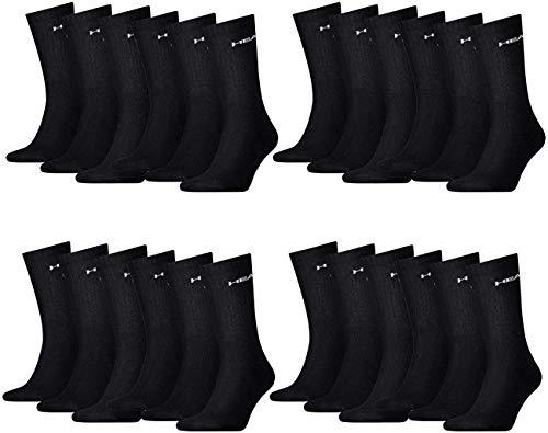 HEAD Unisex Crew Sportsocken 12er Pack, Größe:43-46, Farbe:Black (200)