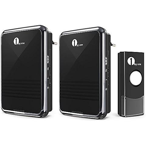 1byone ODEQH-0535 Timbre Portátil dos receptores con enchufe, timbre inalámbrico con sonido de alta calidad y flash de LED ,36 melodías disponibles para elegir
