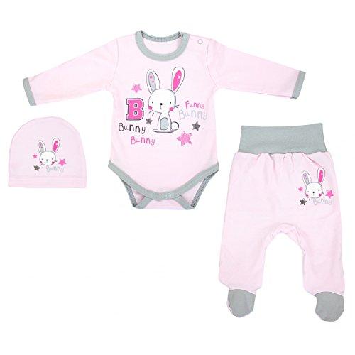 TupTam Unisex Baby Bekleidungsset mit Aufdruck 3 Tlg., Farbe: Kaninchen Rosa, Größe: 68