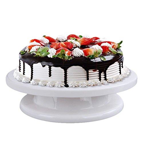 Lalang Plateau tournant pour décoration gâteau en plastique blanc