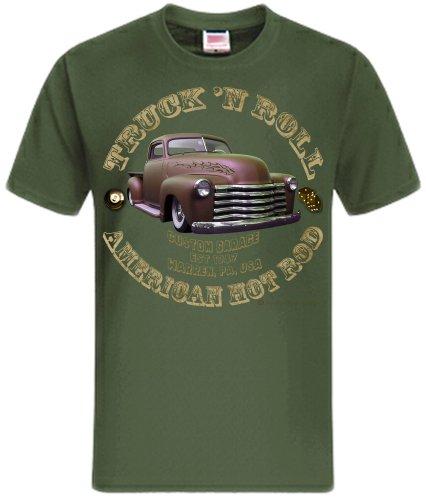 Truck n Roll American Hot Rod Chevy Shirtmatic Vintage T-Shirt Rockabilly color design oliv