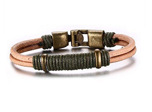 Corda intrecciata in vera pelle braccialetto lega di bronzo con fibbia, lunghezza 220mm