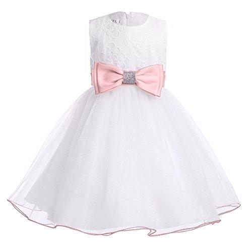 FEESHOW Baby Mädchen Kleider festlich Prinzessin Blumen Tüll Kleider Hochzeit Taufkleid Sommer weiß Größe 62-98 Perlen Rosa 86-92 / 18-24 Monate