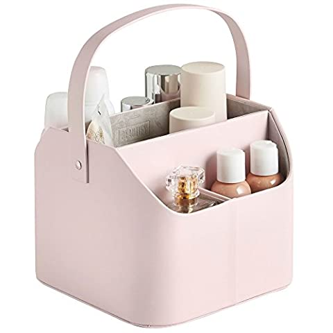 Beautify Faux Leather Makeup Storage Organiser Caddy with Carry Handle - Pink with Grey Velvet Lining