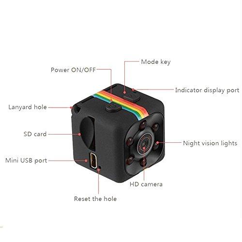 Pawaca Mini Camera HD SQ11 Microcamere Spia per visione notturna 1080P Sport Mini DV Videoregistratore Telecamera per auto a infrarossi Rilevatore di movimento - 2