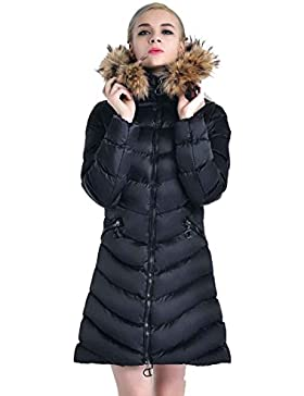 Abbigliamento Giacche Donna Spessa Caldo inverno Donna Parka Cappotto Pelliccia Originale Fur Hoody Solid Vino...