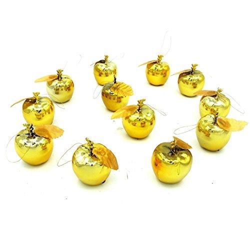 Lanlan 12Weihnachten Dekoration Ornaments Baum Aufhängen vergoldet Apple Set Golden