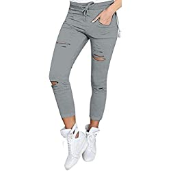 Live It Style It Pantaloni jeggings skinny da donna elasticizzati, strappati Grey X-Large