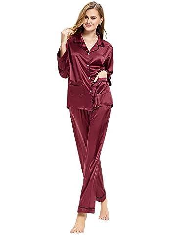 Pyjamas Femme Satin - Aibrou Femmes Ensemble pyjama en satin Manche