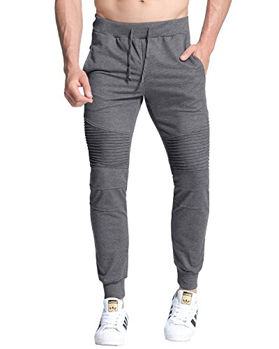MODCHOK Hombre Pantalones Largos Deportivos Ch¨¢ndal Jogger Chino Jogging Cargo Algod¨®n Bolsillo Cord¨®n Gris Oscuro M