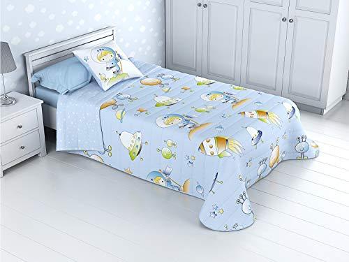 Cabetex Home - Bouti Kinder-Tagesdecke, wendbar, 100% Baumwolle, mit Kissenbezug und Baumwoll-Touch Mod. Platz Cama de 90 cm (180x270 cm) blau