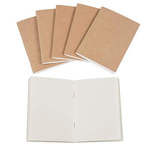 6blanko Tagebuch Notebooks-Kraft braun, Reisende Refill Dick Tagebuch/Notizblock-Passport Größe, 64Seiten blanko