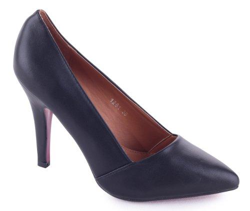 Classique Chaussures Femme schlichte Business Pumps Talons hauts aspect cuir avec dentelle Noir - Noir