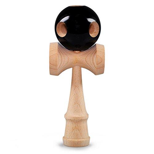 Ganzoo Kendama aus echtem Buchen-Holz, Original Japanisches traditionelles Holz-Spielzeug, Modell: 'Beginner Black', Kugel-Spiel, Geschicklichkeits-Spiel (Holz-classic Kendama)