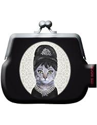 Porte monnaie en pvc avec un motif très original de la caricature animale de Audrey Hepburn.