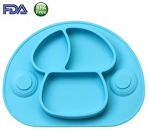 Hochstuhl Baby-boden-matte (Super Saugen Rutschfeste Tischunterlage Platzmatte aus Silikon, super geeignet zum Essen lernen für Babys und Kleinkinder, Babyteller Tischset Babyschale Kinderteller, Perfekt für Hochstuhl)