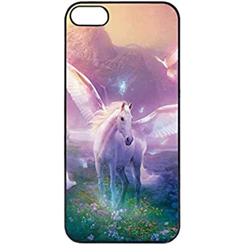 Custodia per iPhone 5 5S SE Cover UltraSottili, AntiGraffio Antiurto Unicorn Horse Cartoon - Alluminio Horse Head