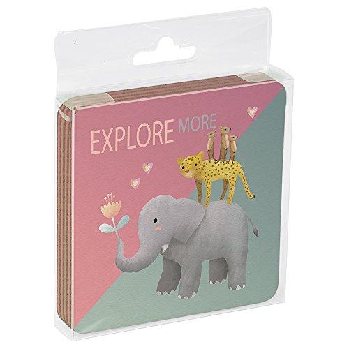 Tree-Free Greetings EC16002 EcoCoaster Untersetzer mit Kork-Rückseite in Geschenk-Acryl-Box, 4 Stück, 3,5 x 0,1 x 3,5 cm, Elefant und Freunde (EC16002)