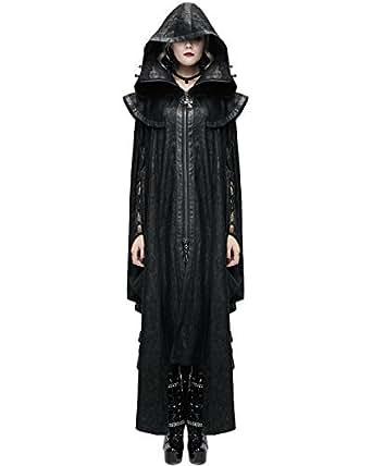 Devil Fashion femmes à capuche cape manteau long noir gothique Dieselpunk apocalyptique