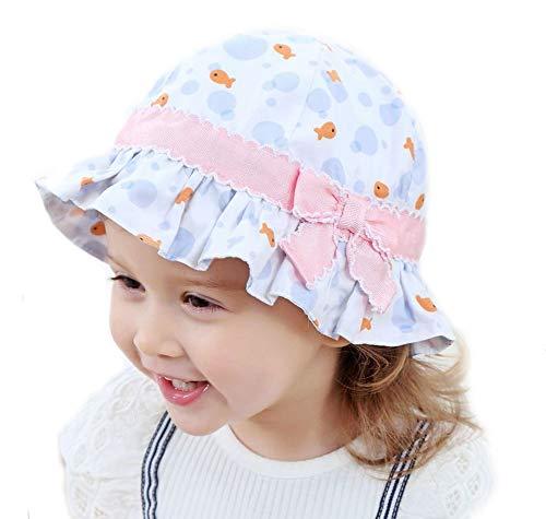 Gifts Treat Mädchen Sommer Sonnenhut, Faltbarer Eimer Hut Weiche Baumwolle Strand Hüte Hut des Breiten Krempe Fischers (Blauer Blasen Fisch Bogen, 52CM) -