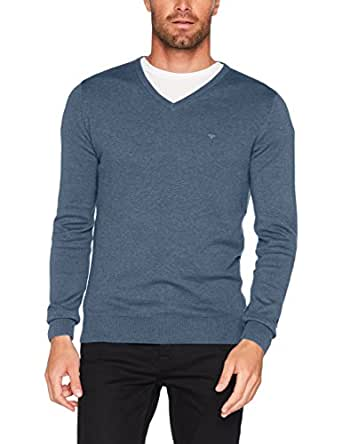 TOM TAILOR Herren Sweatshirt Basic v-Neck Sweater, Blau (Bleached Blue Melange 6495), Small