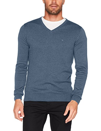 TOM TAILOR Herren Sweatshirt Basic v-Neck Sweater, Blau (Bleached Blue Melange 6495), XXX-Large