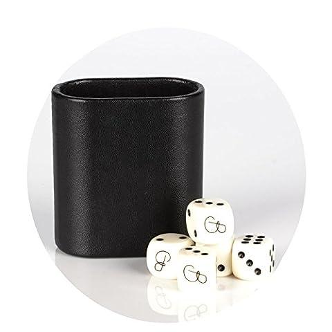 Magic Vosom Noir Mini Vinyle ovale Backgammon Dice Cup avec 5dés