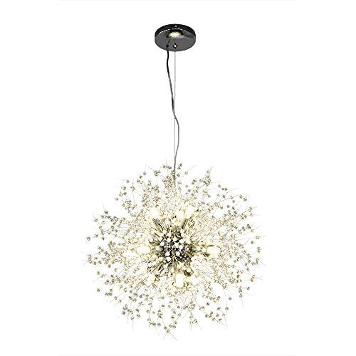 Lingkai Moderne LED Lampe Kristall Deckenleuchte Elegante Runde Kronleuchter Chrom-Finish Runde Pendelleuchte für Schlafzimmer Wohnzimmer Restaurant Esszimmer Unterputz Hängeleuchte Φ 55cm (Chrome)