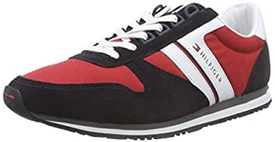 Tommy Hilfiger  SM - M2285AXWELL 9C, Sneakers Basses homme - Bleu - Blau (MIDNIGHT / TANGO RED 611), 45 EU