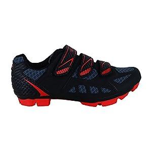 Zol Predator MTB - Zapatillas de deporte para ciclismo y bicicleta de montaña, Black with Red