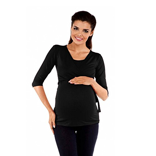 Amphia - Stillende Oberseite der schwangeren FrauFrauen schwangeres festes Spitzen-Krankenpflege-Baby für Mutterschaft mittlere Hülsen-Bluse - (Schwarz,M)