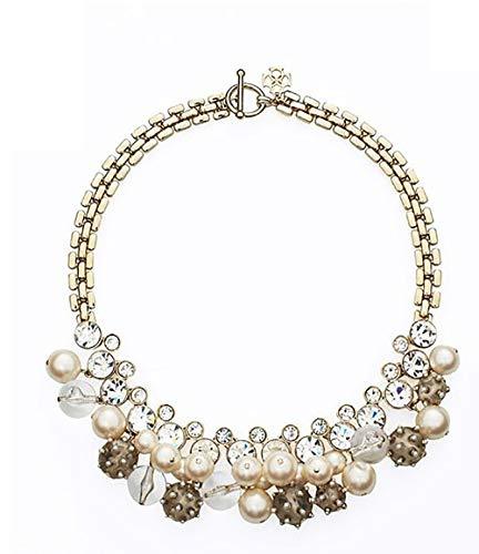 Blingbling_M Wilde Perle Edelstein Halskette Weiblichen Retro Eleganten Charme Kragen Schmuck Farbigen Glas Kristall Cluster Klobige Halskette Damen Halskette