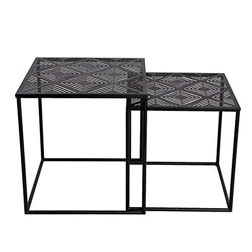5 IN 1 TABLE XIAOYAN Nordic Nesting Tables Wohnzimmer Square Couchtisch Schmiedeeisen Beistelltisch Einfacher Kleiner Tisch Schwarz 2er Pack -