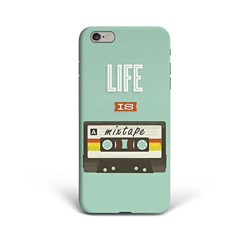 for iPhone 6 Plus + iPhone 6s Plus + Phone Back Case Hard Cover Custom Personalised Trendy Style Present Modern Design Protective Plastic UK Brand Appfix Life is a Mixtape Retro Old School