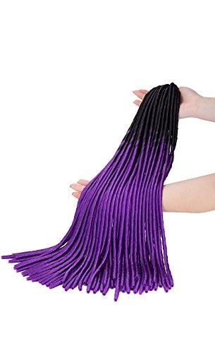 oks Crochet Twist Hair Zöpfe Synthetic Full Head Hair Extensions fauxlocs Faser Flechten Haar Kinky Weich Dread Dreadlocks für Frauen (1Packungen, dark schwarz zu dunkel lila) (Haarspangen Für Dreads)
