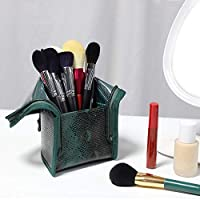 Elementral Green Three-dimensional Cosmetic Storage Bag, High-grade Vertical Cosmetic Bag Green PU Hand-held Portable Makeup Brush Storage Bag