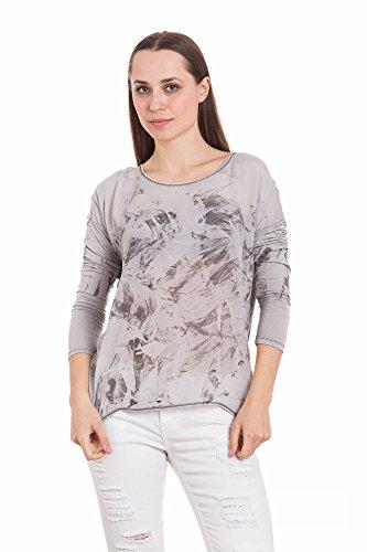 Abbino Futura Magliette Tops Ragazze Donne - Made in Italy - Multiplo Colori - Mezza Stagione Primavera Estate Autunno Maniche Lunghe T-Shirts Shirts Casual Saldi Maglie Tempo Libero Grigio (Art. Futura)