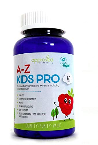 Childrens Multivitamins & Minerals with Iron & Calcium, Vitamin A,B1,B2,B3,B5,B6,B12,C,D,E - 60 Chewable Vegetarian Flavoured Vitamin Tablets - Kids Calcium