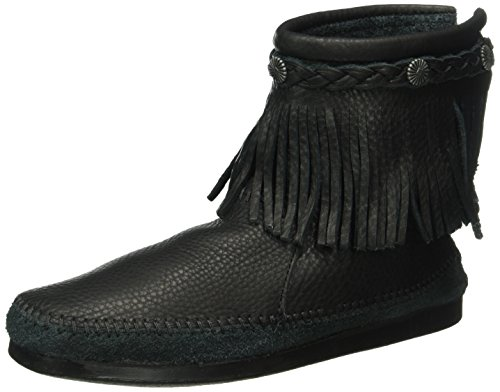 Minnetonka Damen Hitopbackzipboot Mokassin Schwarz (Black)
