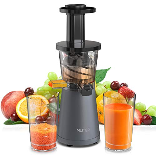 Mliter Slow Masticating Juicer, 200W Cold Press Juicer/Juice Extractor - Low Noise, High Nutrient & Anti-Oxidation, with Cleaning Brush, Two Containers for High Nutrient Fruit and Vegetable Juice