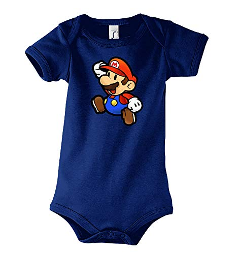 TRVPPY Baby Kurzarm Body Strampler Modell Super Mario, Gr. 6-12 Monate, Navyblau