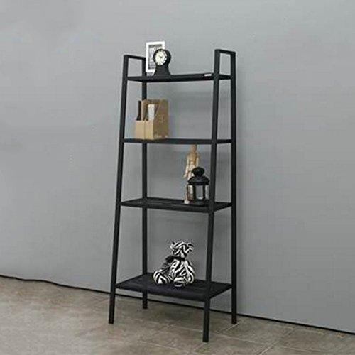 Rack Nan Ladder Storage Bücherregal Display 4-Tier Regal Wand Veranstalter Schwarz/Weiß -35/60 * 35 * 147cm Regale (Farbe : Black, Größe : 60 * 35 * 148cm) (4-tier-bücherregal)