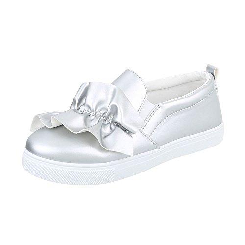 Ital-Design Sneakers Low Damen-Schuhe Sneakers Low Moderne Freizeitschuhe Silber, Gr 38, G-26-