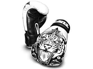 TUFF Muay Thai Tigre Blanc Gants de boxe : 16 OZ ,(TUF-GV-TIGER-WHT)