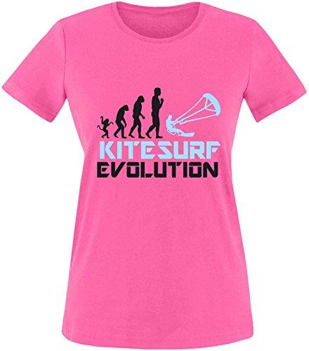 EZYshirt® Kitesurf Evolution Damen Rundhals T-Shirt Fuchsia/Schwarz/Hellbl