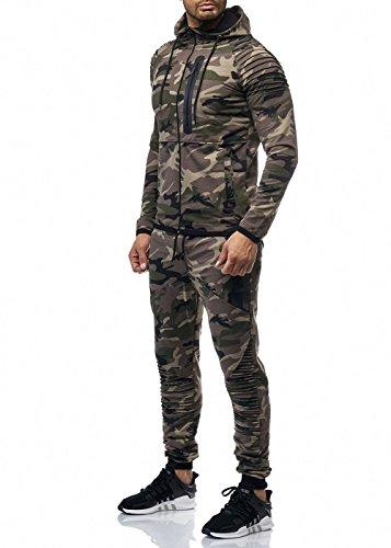 Cabin Herren Camouflage Jogginganzug Jogging Hose Jacke Sportanzug Grün S