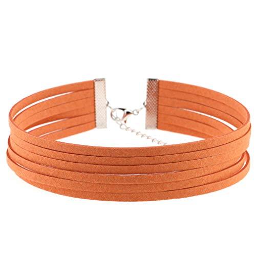 L Big Boss Halskette für Mädchen, Gothic-Stil, Samt, 6 Schichten Gr. Einheitsgröße, Orange