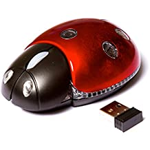 Firefly mariquita, mariquita con forma óptico inalámbrico ratón de ordenador. Apoyo Window 7/Vista/XP/2000, MAC OS tarde o